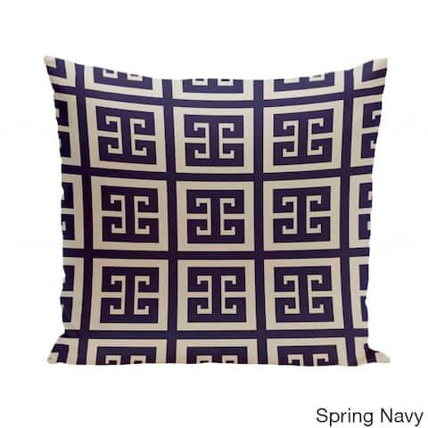 18 x 18-inch Latte Large Greek Key Print Geometric Decorative Pillow