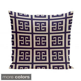 18 x 18-inch Latte Large Greek Key Print Geometric Decorative Pillow
