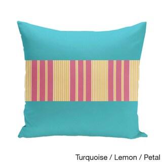 20 x 20-inch Color Block Stripe Decorative Throw Pillow (Turquoise Lemon Petal)