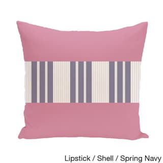 16 x 16-inch Color Block Stripe Decorative Throw Pillow (Lipstick Shell Spring Navy-16x16)