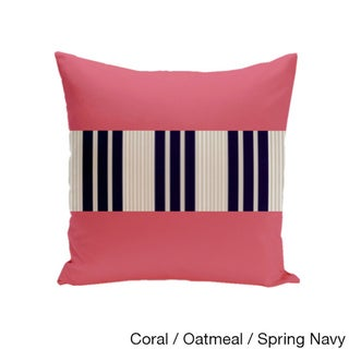 16 x 16-inch Color Block Stripe Decorative Throw Pillow (Coral Oatmeal Spring Navy-16x16)