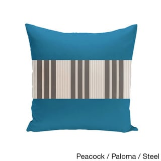 16 x 16-inch Color Block Stripe Decorative Throw Pillow (Peacock Paloma Steel-16x16)