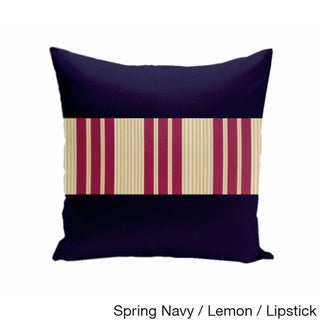 16 x 16-inch Color Block Stripe Decorative Throw Pillow (Spring Navy Lemon Lipstick-16x16)