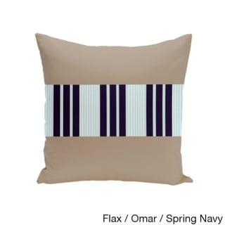 16 x 16-inch Color Block Stripe Decorative Throw Pillow (Flax Omar Spring Navy-16x16)