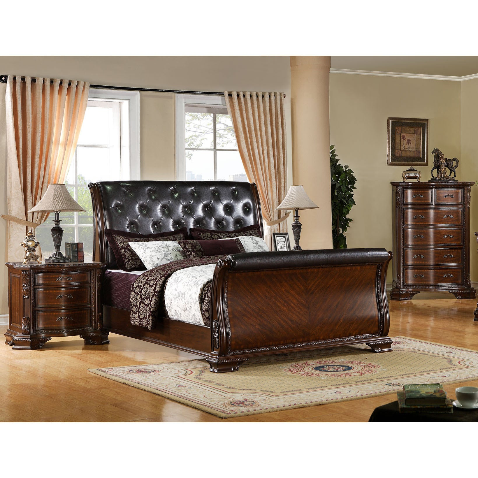 Furniture of America Luxury Brown Cherry Baroque Style 3-...