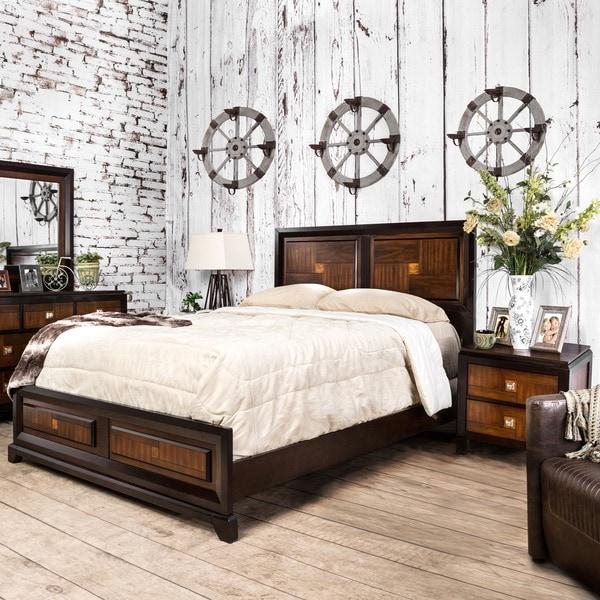 furniture of america duo tone 2 piece acacia and walnut bedroom set