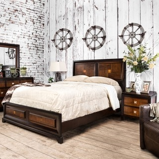 Furniture of America Duo-tone 2-piece Acacia and Walnut Bedroom Set