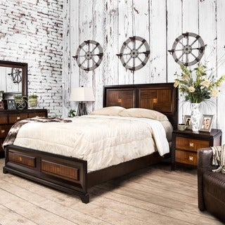 Furniture of America Duo-tone 2-piece Acacia and Walnut Bedroom Set (4 options available)