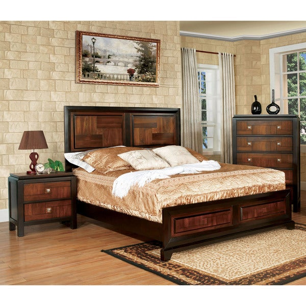 furniture of america duo tone 3 piece acacia and walnut
