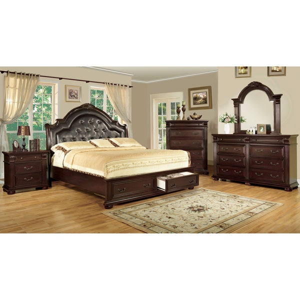 Furniture of america lauretta english style 4 piece brown for Bedroom furniture 50 off