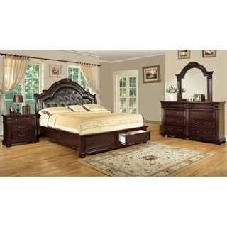 Furniture of America Lauretta English Style 4-Piece Brown Cherry Platform Bedroom Set