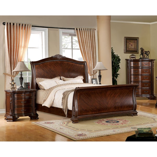 Furniture of America Eliandre Baroque 2-piece Brown Cherry Sleigh Bed with Nightstand Set. Opens flyout.