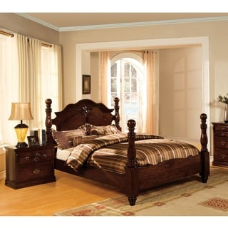 Furniture of America Weston Traditional 2-piece Glossy Dark Pine Poster Bedroom Set