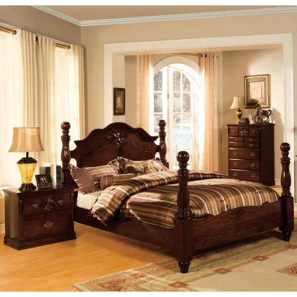 Shop Weston Traditional Glossy Dark Pine 3-piece Poster Bedroom Set ...
