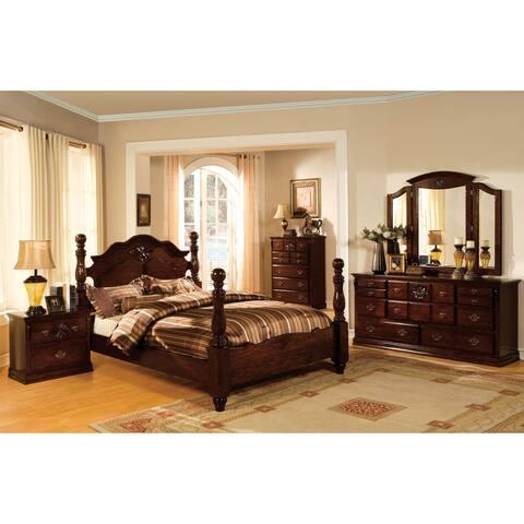 Weston Traditional Glossy Dark Pine 4-piece Poster Bedroom Set
