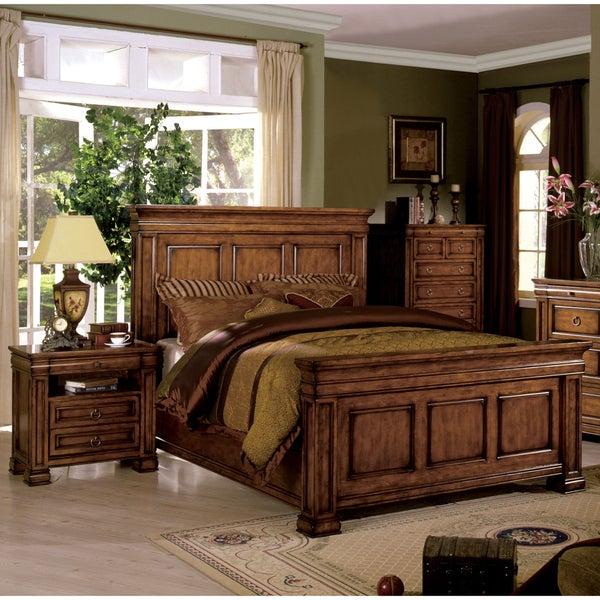 Furniture of america claresse traditional 2 piece tobacco for Oak bedroom furniture 0 finance
