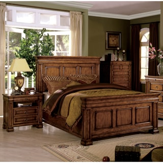 Furniture of America Claresse Traditional 3-piece Tobacco Oak Panel Bedroom Set