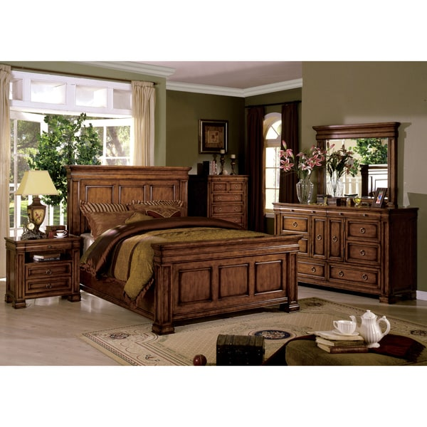 of america claresse traditional 4 piece tobacco oak panel bedroom set