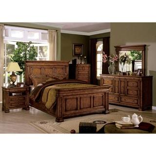 Furniture of America Claresse Traditional 4-piece Tobacco Oak Panel Bedroom Set
