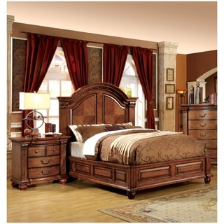 Furniture Of America Traditional Style 3 Piece Antique Tobacco Oak Bedroom Set