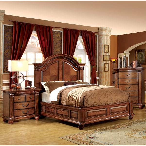 Of America Traditional Style 3 Piece Antique Tobacco Oak Bedroom Set