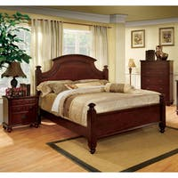 Furniture of America European Style 3-piece Cherry Poster Bedroom Set