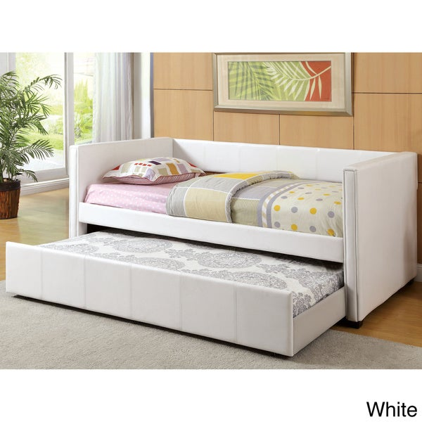 Overstock Daybeds With Trundle : Furniture of america modern marzipan leatherette platform