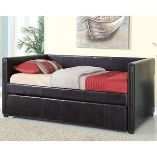 Furniture of America Modern Marzipan Leatherette Platform Daybed with Trundle