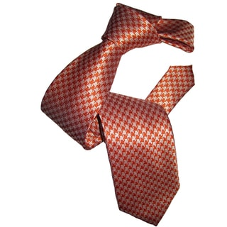 Dmitry Men's Orange Patterned Italian Silk Tie