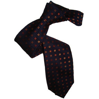 Dmitry Men's Navy and Patterned Italian Silk Tie