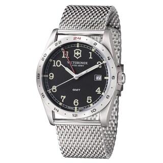 Swiss Army Men's 241649 'Infantry GMT' Black Dial Stainless Steel Quartz Watch