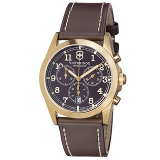 Swiss Army Men's 'Infantry' Brown Dial Brown Leather Strap Quartz Watch