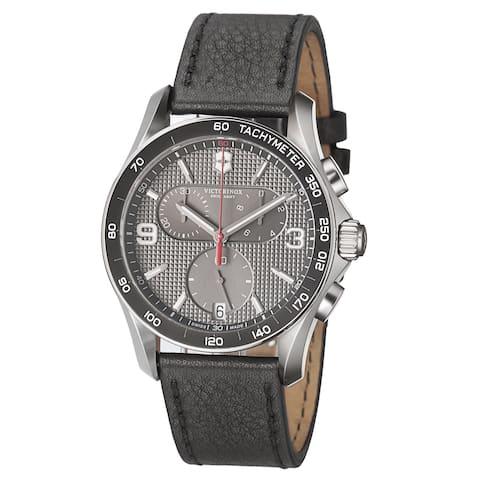Swiss Army Men's 'Chrono Classic' Grey Dial Black Leather Strap Quartz Watch