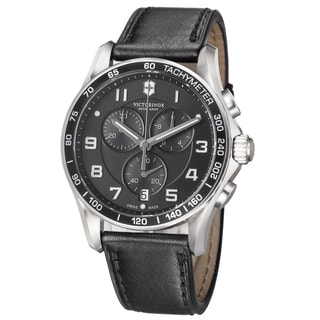 Swiss Army Men's 241651 'Chrono Classic' Black Dial Black Leather Strap Quartz Watch