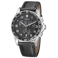 Swiss Army Men's  'Chrono Classic' Black Dial Black Leather Strap Quartz Watch