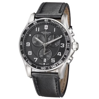 Swiss Army Men's 'Chrono Classic' Black Dial Black Leather Strap Quartz Watch