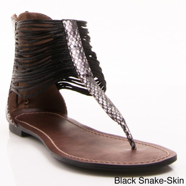 Gomax Women's 'Berdine 78' Strappy Cuff Flat Sandals