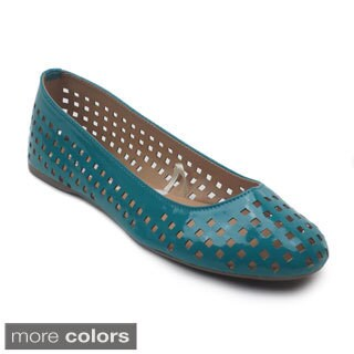 Blue Women's 'Mowey' Perforated Patent Flats
