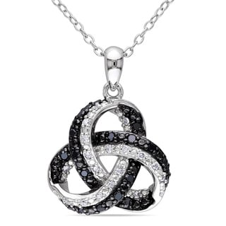 Miadora Sterling Silver 1/4ct TDW Black and White Celtic Diamond Necklace