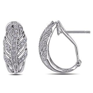 Miadora 14k White Gold 1/4ct TDW Diamond Leaf Earrings (I-J, I1-I2)