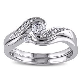 Miadora 10k White Gold 1/3ct TDW Diamond Engagement Bridal Ring Set