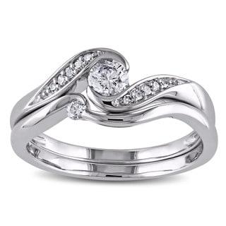Miadora 10k White Gold 1/3ct TDW Diamond Engagement Bridal Ring Set (H-I, I2-I3)