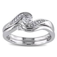 Miadora 10k White Gold 1/3ct TDW Diamond Engagement Bridal Ring Set