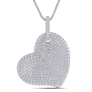 Miadora Signature Collection 14k White Gold 2 1/2ct TDW Pave Diamond Heart Necklace (G-H, SI1-SI2)