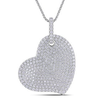 Miadora Signature Collection 14k White Gold 2 1/2ct TDW Pave Diamond Heart Necklace