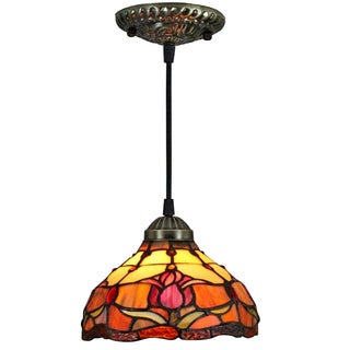 Amora Lighting Tiffany Style Wide 8-inch Tulips 1-light Hanging Lamp
