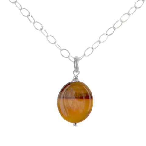 "Oval Tiger's Eye Gemstone Sterling Silver Handmade 18"" Necklace. Ashanti Jewels"