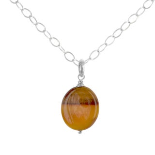 Ashanti Sterling Silver Tiger's Eye Gemstone Handmade Necklace (Sri Lanka)