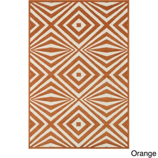 Indoor/ Outdoor Palm Diamond Rug - 92 x 121 (Orange/Ivory)