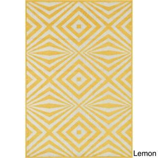 Indoor/ Outdoor Palm Diamond Rug - 92 x 121 (Lemon/Ivory)